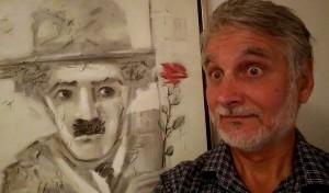 """Пред Чарли Чаплин с розата, картината, която нарисувах за изложбата """"Като Заковани гвоздеи"""" 2014 г."""