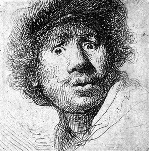 Младият Рембранд, Автопортрет - суха игла