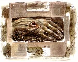 Ръката на Божието благословение, рисунка с акварел, Хари Атанасо